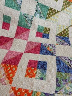 Stepping Stones quilt using Terrain fabric by Kate Spain. Pieced by Sherri McConnell and quilted by Judi Madsen.