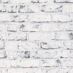 Grey / White - 9078-37 - Brick Effect - Distressed - A.S. Creation Wallpaper #ASCreation #Wallpaper