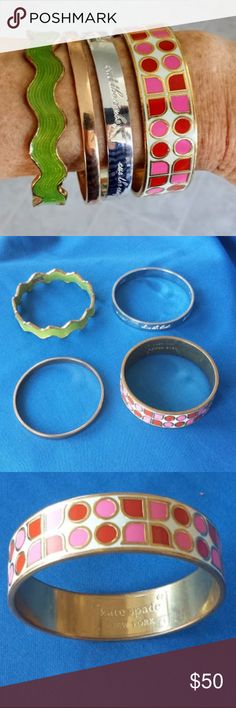 "Kate Spade Bangle Bracelets (4) Four Kate Spade Bangle Bracelets. These have all been worn but still look great. The silver one does have a bit of tarnish/scratchiness to it. They are: ""Have Courage"" (red, pink, goldtone, enamel), ""Stop and Smell the Roses"" idiom (thin gold), ""Happily Ever After"" idiom (silvertone), and the green and goldtone wavy/scalloped enamel. kate spade Jewelry Bracelets"