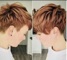 Short Copper Hair 2018 Latest short haircuts for that will give you a stunning look. Pixie cuts, bob hairstyles, shaggy and edgy short haircut, textured bobs and more. Short Pixie Haircuts, Short Hair Cuts, Undercut Pixie Haircut, Short Undercut, Red Pixie Haircut, Style Short Hair Pixie, Short Hair Colour, Brown Pixie Hair, Pretty Short Hair