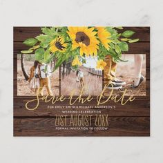 Rustic Wedding Invitations and coordinates featuring pretty yellow Sunflowers - #Ad