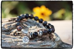 Brown Ocean Jasper, Silver Lotus Charm, African Bone and Silver Plated Trade Bead Stretch Bracelet, Earthy Boho Chic, Zen Yoga Inspired by ShortDogJewelry on Etsy