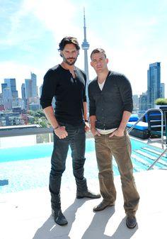 Joe Manganiello and Channing Tatum posed near the CN Tower in Toronto during a Magic Mike press junket.