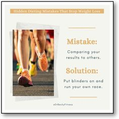 """""""The first hard-to uncover mistake is what I'll call running someone else's race. Many people will see results when they go on a diet but get distracted by the faster progress of others. There are many factors that go into how quickly your body will lose weight..."""" Weight Loss Goals, Healthy Weight Loss, Want To Lose Weight, Someone Elses, Mistakes, Exercise, Diet, Running, Factors"""