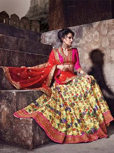 Yellow & Pink digital print lehenga choli for wedding and daytime functions.