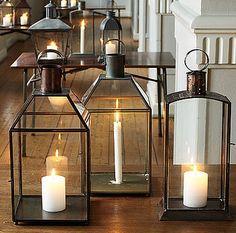Candle fireplace - single large paned lanterns