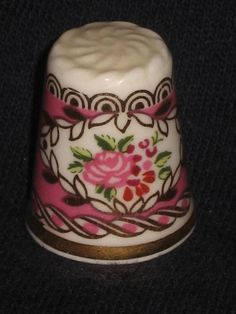 Vntg 80's Hammersley Bone china england Porcelain Thimble PRETTY PINK ROSES
