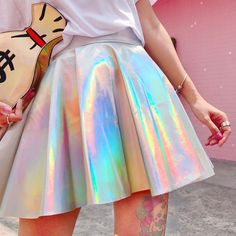 ... from China rave skirt Suppliers  Silver Holographic Women Vinyl Skirt  Clothes Punk Laser Hologram Foil Fabric Skater Skirt Rave Festival Outfits 4d0cfe857f6b