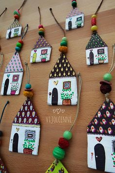 craft sale items Tiny house ornament add some charm to your christmas tree or wall. The paper houses has been painted on both sides for dangle everywhere you prefer. House Ornaments, Clay Ornaments, Clay Wall Art, Clay Art, Polymer Clay Crafts, Diy Clay, Diy And Crafts, Crafts For Kids, Paper Crafts