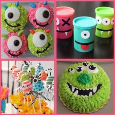 monster cupcakes. top left corner-use melted white chocolate for circles and a brown m&m for eye.