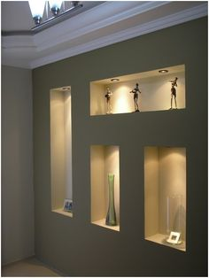 Risultati immagini per nichos decorativos en drywall Interior Design Living Room, Living Room Designs, Interior Decorating, Home Room Design, House Design, Niche Decor, Niche Design, Living Room Partition, Plafond Design