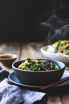 Hot Sesame Rice Noodles with Asparagus, Shiitakes and Pea Shoots / Vegan / Food styling / Food photography