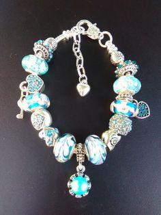 December Birth month European Charm Bracelet