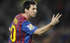 Lionel Messi hand gesture, after scoring a goal and hat-trick for Barcelona, and about to win 3 FIFA Balon d'Or 2010, 2011, 2012
