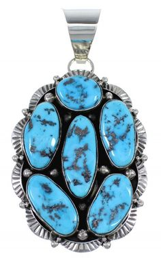 Sleeping Beauty Turquoise And Sterling Silver Navajo Indian Pendant www.turquoisejewelry.com
