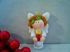 Angel with a Candle  Holiday Figurine by countrycupboardclay