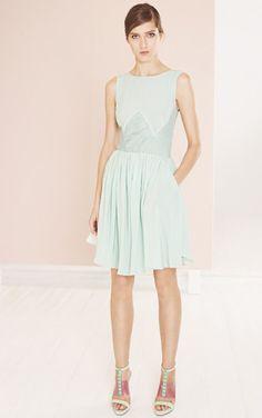 Reiss Kacie ice blue silk panel insert dress