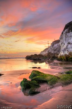 Pismo Beach at sunset at low tide, by Amy Joseph of www.centralcoastpictures.com Pismo Beach, Arroyo Grande, San Luis Obispo County, Central Coast, Beautiful Places, Scenery, California, Sunset, City