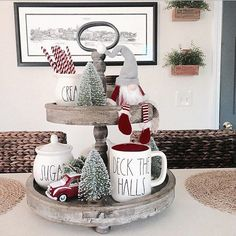 """Deck the halls with lots of Rae Dunn Falalalala lalala"" // farmhouse tray has gotten a Christmas makeover!"