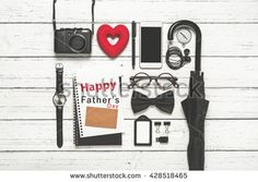 Father's Day concept, Flat lay photography of essentials business man with…