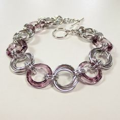Crystal Love Knots Chain Mail Bracelet Swarovski Crystal Antique Pink Chainmaille Jewelry