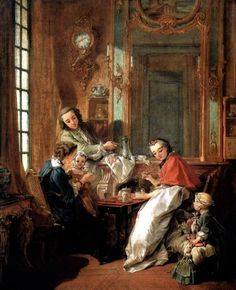 Francois Boucher (French Painter 1703-1770) - Breakfast - 1739, Musee du Louvre, oil on canvas 82x65cm.