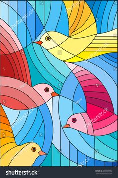 Illustration in stained glass style with bright abstract birds on a blue background - Backgrounds Stained Glass Birds, Stained Glass Projects, Stained Glass Patterns, Wal Art, Cubism Art, Arte Pop, Silk Painting, Paint Designs, Watercolor Art
