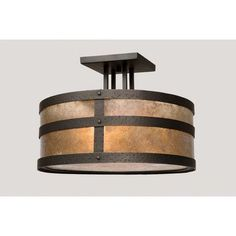 Steel Partners Portland Round Drop Semi Flush Mount Finish: Mountain Brown, Shade Color: Slag Glass Pretended