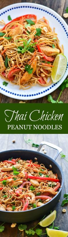 THAI CHICKEN PEANUT NOODLES are made up of whole wheat noodles, lean meat, veggies, and peanut sauce. An easy, healthy meal the family will love!