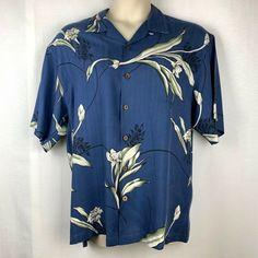 e24ce91b Hilo Hattie Blue Silk Hawaiian Aloha Medium Mens Shirt #HiloHattie #Hawaiian  #Aloha #