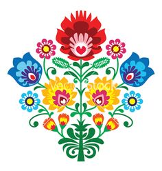 Folk embroidery with flowers - traditional polish vector 1253129 - by RedKoala on VectorStock®