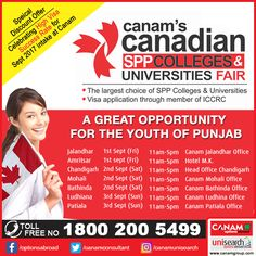 These three days are crucial if you wish to brighten up your career with #GlobalEducation. Special sessions happening all over in #Punjab. Reserve your seat and avail the benefits as well as Special Discounts from #CanamConsultants - the most trusted name in #StudyAbroad options for Indian students. #StudyVisa #StudentVisa #HigherEducation