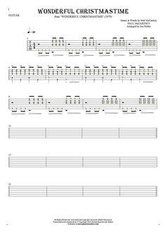 Wonderful Christmastime sheet music by Paul McCartney. From album Wonderful Christmastime (1979). Part: Tablature (rhythm values) for guitar - accompaniment.