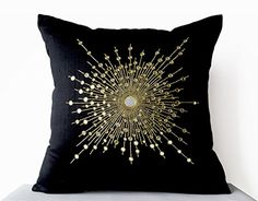 Amore Beaute Handcrafted Premium Black Silk Decorative Pillow Cover with Intricate Mirror Embroidery  Pure Silk Throw Pillow 14x14 Inches ** See this great product by click affiliate link Amazon.com