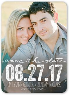 Save The Date Card: Enchanting Date, Rounded Corners, White