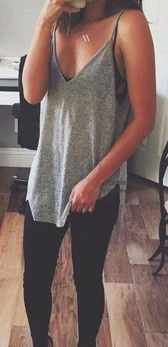 long-loose spaghetti strap tee