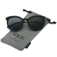 0aea3d3486 Round Sunlgasses for Women Fashion Protection Glasses - Black Frame Grey  Lens -