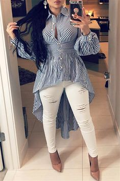 Lovely Work Striped Blue Blouse We Miss Moda is a leading Women's Clothing Store. Offering the newest Fashion and Trending Styles. White Cotton Blouse, Black And White Blouse, Cotton Blouses, Blue Blouse, Striped Blouses, White Blouses, Cheap Blouses, Blouses For Women, Dress Shirts For Women