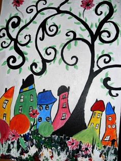 Painting Absract Crooked Houses In Acrylics, Art For Childrens Room, Decorative £35.00