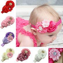 Moda 2015 meninas do bebê acessórios de cabelo strass Headband da fita de rosa cabeça faixa de cabelo acessórios 6X6U(China (Mainland))