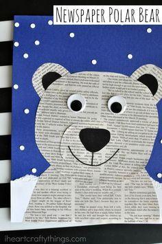 Newspaper Polar Bear Craft is part of Winter crafts Preschool - This newspaper polar bear craft is perfect for a winter kids craft, preschool craft, newspaper craft and arctic animal crafts for kids