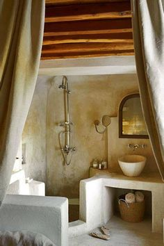 I think I like this, no glass to clean, no grout to scrub, open airy and sexy.architecture home interior house design bathroom whitewash adobe Spanish Moroccan Moorish bohemian exotic romantic Bad Inspiration, Bathroom Inspiration, Writing Inspiration, Adobe Haus, Tiny Homes, New Homes, Interior And Exterior, Interior Design, Cob House Interior