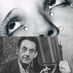Man Ray moved into the realm of Dada, producing readymades, kinetic art, and multiple collaborations with Duchamp. Today all of Man Ray's art is celebrated as expert explorations of unpioneered mediums such as performance, assemblage, photography, and conceptual art.  Pictured is a photograph of Man Ray (bottom), and Glass Tears by Man Ray, 1932 (Top).  20th Century Masterworks available for purchase through Robin Rile Fine Art Contact info@robinrile.com