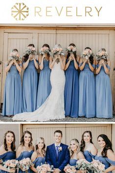 Bride Kacey & Groom Tanner celebrated their love on August 4 in Naches, Washington at the Fontaine Estates Winery at a barn ceremony. Bridesmaid dresses are Kennedy Bridesmaid Dresses from Revelry in Black Bridesmaids, Blush Bridesmaid Dresses, Wedding Bridesmaids, Wedding Dresses, Wedding Mandap, Wedding Stage, Wedding Receptions, Prom Dresses, Blue Wedding
