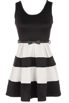 Sleeveless color block dress. Belt not included  95% Polyester, 5% Spandex Length: 31