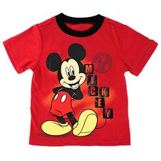 Join the cute Mickey Mouse for a fun time wearing this darling Disney  Mickey Mouse toddler boys short sleeve t-shirt top. 9b0469429