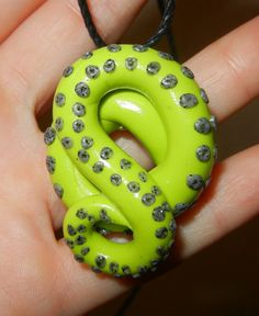 Large Lime Green Octopus Tentacle Pendant by KrakenFashion on Etsy, $15.00