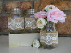Mason Jar Burlap Lace Wraps Cozies Rustic Shabby by justforkeeps,