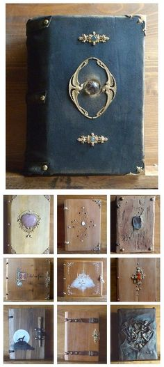 Handmade Medieval-Style Wooden Journals by Atelier Du Grimoire. Like the metal and stones. Handmade Journals, Handmade Books, Handmade Notebook, Handmade Rugs, Handmade Crafts, Journal Covers, Book Journal, Book Covers, Altered Books