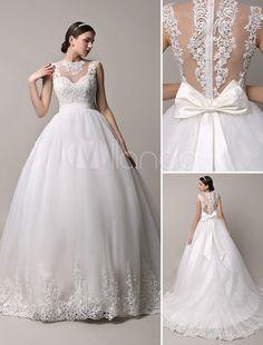 marfim decote enorme bola vestido de casamento vestido com lao de iluso volta